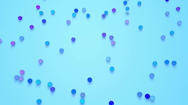 Vánoční koule pádu rozpadat na povrch. pohled z vrcholu. 3D animace pro nový rok složení nebo pozadí. odstíny modré 3