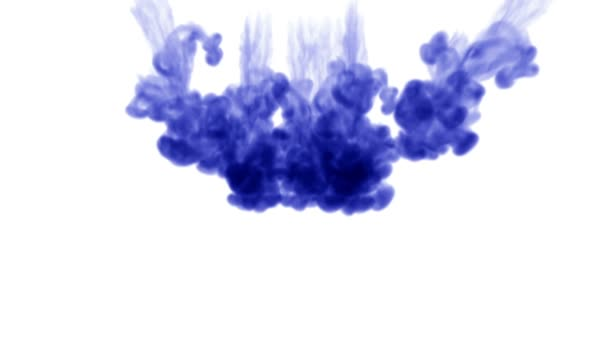 blue ink on a white background dissolves in water. beautiful effect modeled on a computer. 3d render with luma matte for use as an alpha channel for visual effects. many injections 1