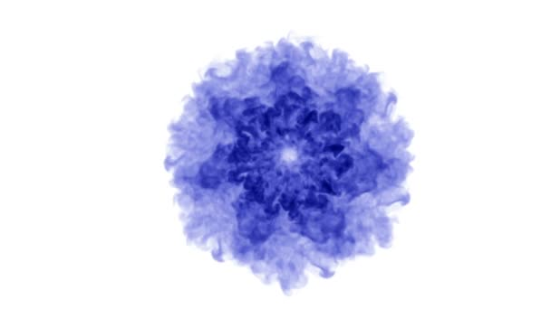 blaue Tinte auf weißem Hintergrund löst sich in Wasser auf. schönen Effekt modelliert auf einem Computer. 3D-Renderer mit Luma-Matte zur Verwendung als Alphakanal für visuelle Effekte. Kreisstruktur 1
