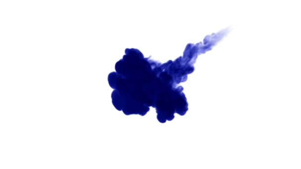 blue ink on a white background dissolves in water. beautiful effect modeled on a computer. 3d render with luma matte for use as an alpha channel for visual effects. 6
