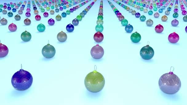 Vánoční koule na povrchu v řádcích. 3D animace pro nový rok složení nebo pozadí s hloubkou ostrosti. Jana se plynule pohybuje nad povrchem. Více barevné 4