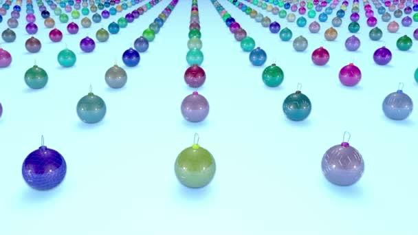 Vánoční koule na povrchu v řádcích. 3D animace pro nový rok složení nebo pozadí s hloubkou ostrosti. Jana se plynule pohybuje nad povrchem. Více barevné 8
