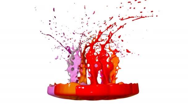 3D činí z rozstříknutí tekutiny na jar jako malování na zvuk reproduktoru. barevné 3d kompozici barvou. šťavnaté světlé tekutého složení. Červené odstíny 10
