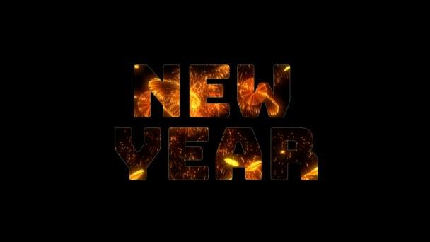 Ünnepi karácsonyi háttér. sárga piros tűzijáték belül nagy felirat új évet. sok sortüzek széles látószög. felirat közepén a keret