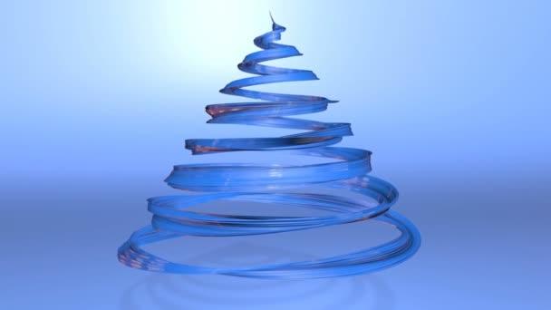 Lesklé slavnostní stuha tvoří symbol vánoční stromeček, který se otáčí. 3D činí z vánoční jasné šťavnaté složení. Bezproblémové smyčky animace. Modrá stuha na modrém pozadí. úzký pás karet 5