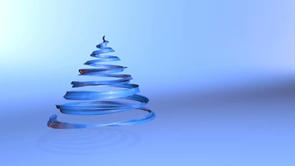 Lesklé slavnostní stuha tvoří symbol vánoční stromeček, který se otáčí. 3D činí z vánoční jasné šťavnaté složení. Bezproblémové smyčky animace. Modrá stuha na modrém pozadí. úzký pás karet 6