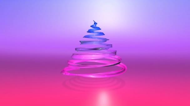 Lesklé slavnostní stuha tvoří symbol vánoční stromeček, který se otáčí. 3D činí z vánoční jasné šťavnaté složení. Bezproblémové smyčky animace. modrá červená přechodu pásu karet a pozadí s přechodem. 9