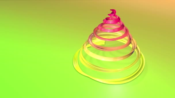 A shiny festive ribbon forms a Christmas tree symbol that rotates. 3d render of Christmas bright composition. Seamless looped animation. green yellow red gradient ribbon and gradient background. 2