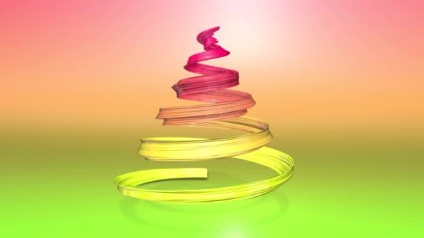 Lesklé slavnostní stuha tvoří symbol vánoční stromeček, který se otáčí. 3D činí z vánoční jasné složení. Bezproblémové smyčky animace. zelená žlutá červená přechodu pásu karet a pozadí s přechodem. 6
