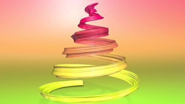 Lesklé slavnostní stuha tvoří symbol vánoční stromeček, který se otáčí. 3D činí z vánoční jasné složení. Bezproblémové smyčky animace. zelená žlutá červená přechodu pásu karet a pozadí s přechodem. 12
