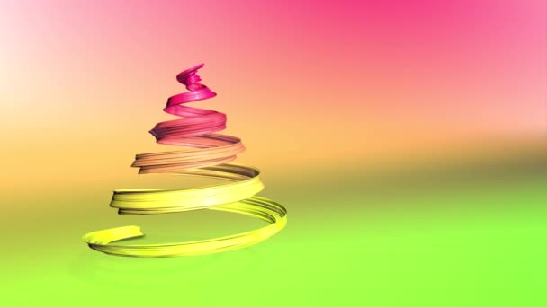 Lesklé slavnostní stuha tvoří symbol vánoční stromeček, který se otáčí. 3D činí z vánoční jasné složení. Bezproblémové smyčky animace. zelená žlutá červená přechodu pásu karet a pozadí s přechodem. 14