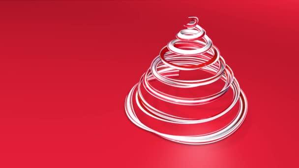 Lesklé slavnostní stuha tvoří symbol vánoční stromeček, který se otáčí. 3D činí z vánoční jasné šťavnaté složení. Bezproblémové smyčky animace. Červená bílá stuha na červeném pozadí. 4