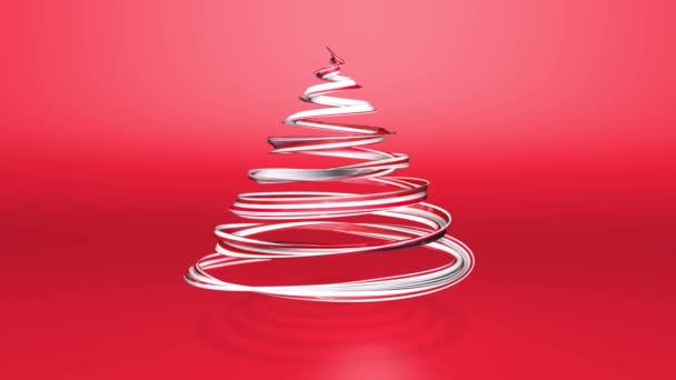 Lesklé slavnostní stuha tvoří symbol vánoční stromeček, který se otáčí. 3D činí z vánoční jasné šťavnaté složení. Bezproblémové smyčky animace. Červená bílá stuha na červeném pozadí. 7