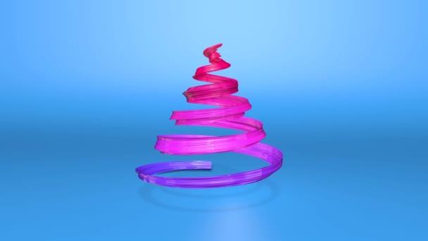 Lesklé slavnostní stuha tvoří symbol vánoční stromeček, který se otáčí. 3D činí z vánoční jasné šťavnaté složení. Bezproblémové smyčky animace. modrá červená stužka přechodu a modrým pozadím. 1