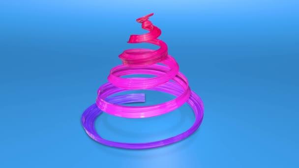 Lesklé slavnostní stuha tvoří symbol vánoční stromeček, který se otáčí. 3D činí z vánoční jasné šťavnaté složení. Bezproblémové smyčky animace. modrá červená stužka přechodu a modrým pozadím. 3