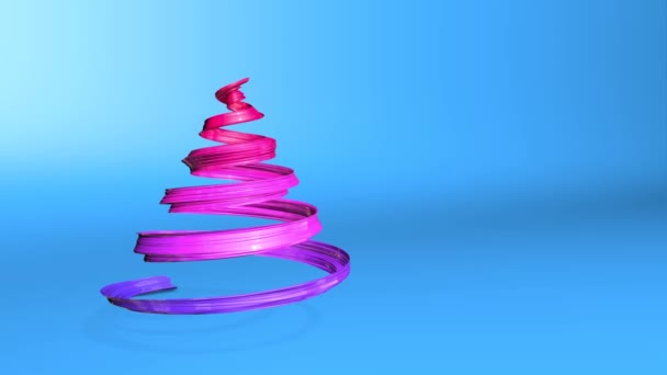 A shiny festive ribbon forms a Christmas tree symbol that rotates. 3d render of Christmas bright juicy composition. Seamless looped animation. blue red gradient ribbon and blue background. 6