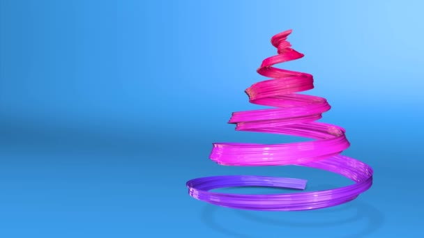 A shiny festive ribbon forms a Christmas tree symbol that rotates. 3d render of Christmas bright juicy composition. Seamless looped animation. blue red gradient ribbon and blue background. 7