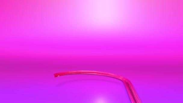 Lesklé slavnostní stuha tvoří symbol vánoční stromeček. 3D vykreslení vánoční světlé svěží kompozice. 3D nový rok složení. Červená stužka fialová přechodu na fialové pozadí 7