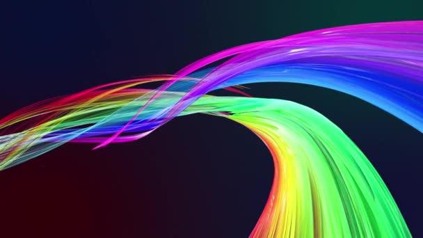 barevné pruhy v duze v kruhové formaci twist, pohyb v kruhu. Bezproblémové kreativní pozadí, opakuje animace 3d hladké světlé lesklé stuhy stočený do kruhu se třpytí jako sklo. 1.