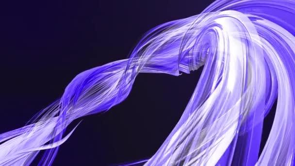 barevné modré fialové pruhy v kruhové formaci twist, pohyb v kruhu. Bezproblémové kreativní pozadí, opakuje animace 3d hladké světlé lesklé stuhy stočený do kruhu se třpytí jako sklo. 10