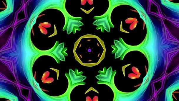színes kaleidoszkóp a szivárvány kör kialakulását csavar, mozognia. Varrat nélküli kreatív háttér, végtelenített sima 3D-s animáció fodros kör 6 világos shiny formák