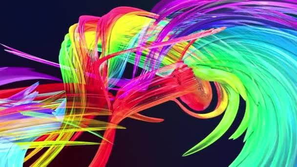 a szivárvány kör kialakulását csavar, színes csíkos mozog egy kört. Varrat nélküli kreatív háttér, végtelenített fényes fényes szalagok, fodros kör csillog, mint a pohár a 3D-s sima animáció
