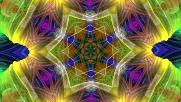 barevné kaleidoskopické formuláře v duze v kruhové formaci twist, pohyb. Bezproblémové kreativní pozadí, opakuje animace 3d hladké světlé lesklé formulářů stočený do kruhu 13