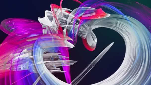 barevné pruhy v duze v kruhové formaci twist, pohyb v kruhu. Bezproblémové kreativní pozadí, opakuje animace 3d hladké světlé lesklé stuhy stočený do kruhu se třpytí jako sklo.