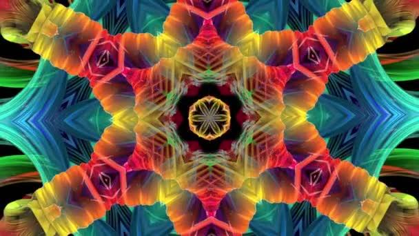 barevné formuláře v duze v kruhové formaci twist, pohyb. Bezproblémové kreativní pozadí, opakuje animace 3d hladké světlé lesklé formulářů stočený do kruhu se třpytí jako sklo. 1