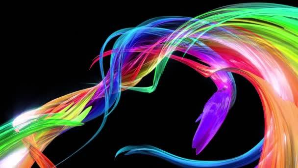 barevné pruhy v duze v kruhové formaci twist, pohyb v kruhu. Bezproblémové kreativní pozadí, opakuje animace 3d hladké světlé lesklé stuhy stočený do kruhu se třpytí jako sklo. 20