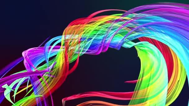 barevné pruhy v duze v kruhové formaci twist, pohyb v kruhu. Bezproblémové kreativní pozadí, opakuje animace 3d hladké světlé lesklé stuhy stočený do kruhu se třpytí jako sklo. 19.