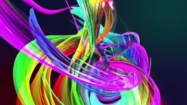 barevné pruhy v duze v kruhové formaci twist, pohyb v kruhu. Bezproblémové kreativní pozadí, opakuje animace 3d hladké světlé lesklé stuhy stočený do kruhu se třpytí jako sklo. 24.