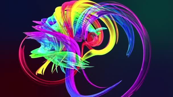 barevné pruhy v duze v kruhové formaci twist, pohyb v kruhu. Bezproblémové kreativní pozadí, opakuje animace 3d hladké světlé lesklé stuhy stočený do kruhu se třpytí jako sklo. 27.