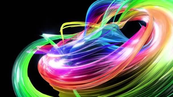 barevné pruhy v duze v kruhové formaci twist, pohyb v kruhu. Bezproblémové kreativní pozadí, opakuje animace 3d hladké světlé lesklé stuhy stočený do kruhu se třpytí jako sklo. 30
