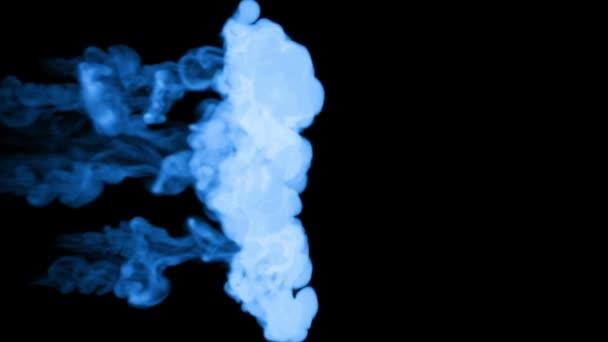 blaue fluoreszierende Tinte auf schwarzem Hintergrund. 3D-Renderer, mit Luma matt. 3