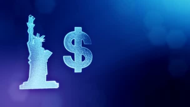 dollárjel és a jelképe a Szabadság-szobor. Finanszírozási hátterét a fényes részecskék. 3D hurok élénkség-val mélység a szöveg mező, bokeh, másolat tér. Kék v4