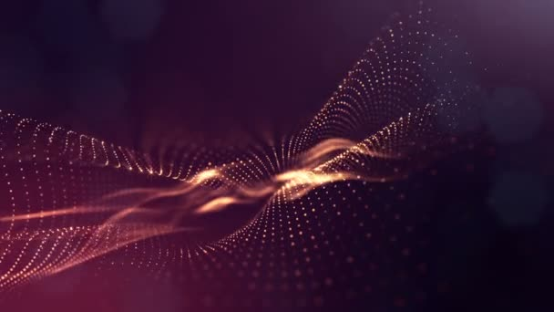 Composition with oscillating luminous particles that form surface. Abstract background of glowing particles with shining bokeh sparkles. Smooth animation looped. Red 3