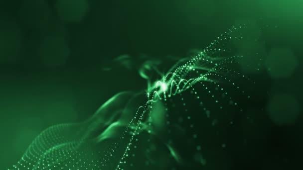 Složení s kmitajícími světelná částice, které tvoří povrch. Abstraktní pozadí zářící částic s zářící bokeh jiskří. Hladké animace smyčkou. Zelená 3
