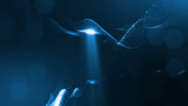 Složení s kmitajícími světelná částice, které tvoří povrch. Abstraktní pozadí zářící částic s zářící bokeh jiskří. Hladké animace smyčkou. Modrá 6