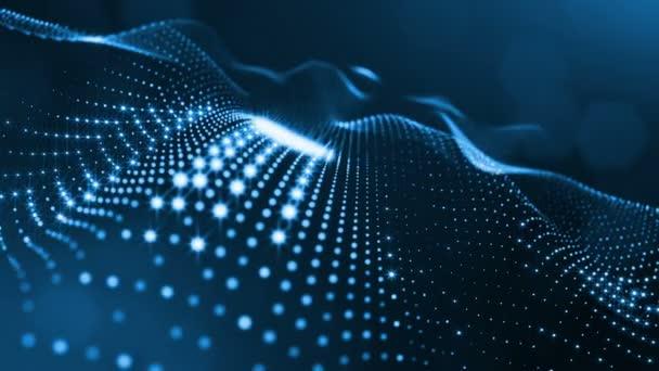 Složení s kmitajícími světelná částice, které tvoří povrch. Abstraktní pozadí zářící částic s zářící bokeh jiskří. Hladké animace smyčkou. Modrá 8
