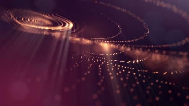 Složení s kmitajícími světelná částice, které tvoří povrch. Abstraktní pozadí zářící částic s zářící bokeh jiskří. Hladké animace smyčkou. Červená 17