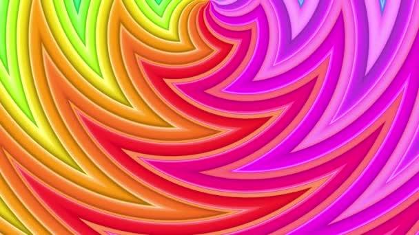 Duhové vícebarevné pruhy tah cyklicky. Abstraktní 3d hladké světlé pozadí v rozlišení 4k. Jednoduchá geometrie v kreslené kreativní styl. Smyčky hladké animace. Křivky 4