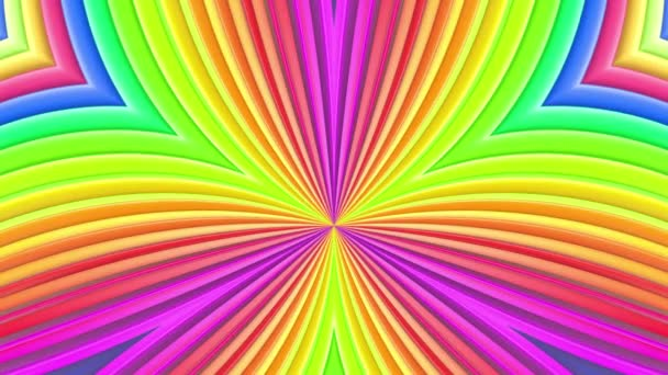 Rainbow multicolored stripes move cyclically. Abstract 3d seamless bright background in 4k. Simple geometry in cartoon creative style. Looped smooth animation. Curves 6