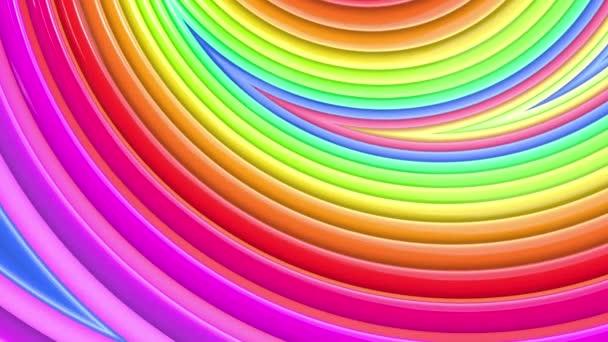 Duhové vícebarevné pruhy tah cyklicky. Abstraktní 3d hladké světlé pozadí v rozlišení 4k. Jednoduchá geometrie v kreslené kreativní styl. Smyčky hladké animace. Křivky 8