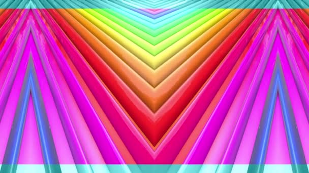 Rainbow multicolored stripes move cyclically. Abstract 3d seamless bright background in 4k. Simple geometry in cartoon creative style. Looped smooth animation. Line 6