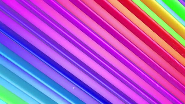 Rainbow multicolored stripes move cyclically. Abstract 3d seamless bright background in 4k. Simple geometry in cartoon creative style. Looped smooth animation. Line 8