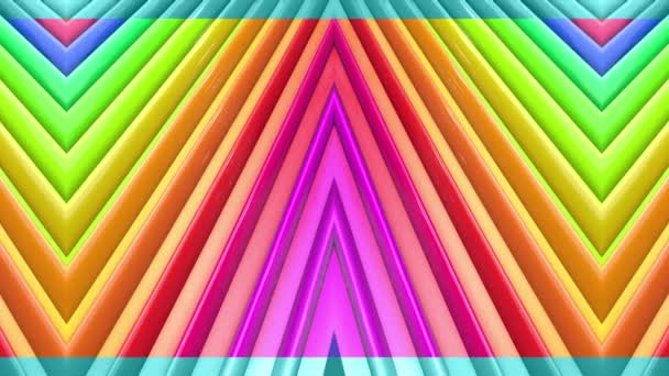Rainbow multicolored stripes move cyclically. Abstract 3d seamless bright background in 4k. Simple geometry in cartoon creative style. Looped smooth animation. Line 10