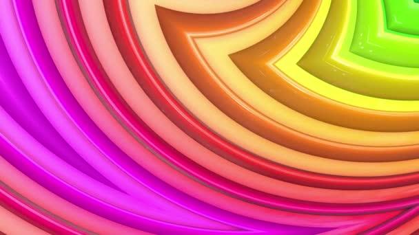Rainbow színes sávok mozog ciklikusan. Absztrakt 3d zökkenőmentes világos háttér 4k. Egyszerű geometriai rajzfilm kreatív stílus. Végtelenített sima animáció. Görbék 14