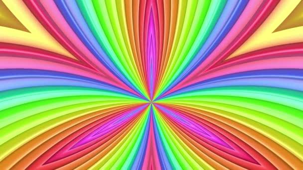 Duhové vícebarevné pruhy tah cyklicky. Abstraktní 3d hladké světlé pozadí v rozlišení 4k. Jednoduchá geometrie v kreslené kreativní styl. Smyčky hladké animace. Křivky