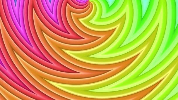 Rainbow színes sávok mozog ciklikusan. Absztrakt 3d zökkenőmentes világos háttér 4k. Egyszerű geometriai rajzfilm kreatív stílus. Végtelenített sima animáció. Görbék 17